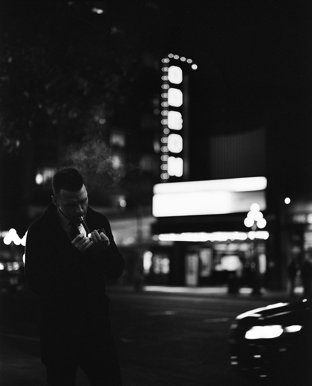 Black and white film is always pretty special but i absolutely love it for night portraiture ive always been drawn to classic fashion portraiture and i